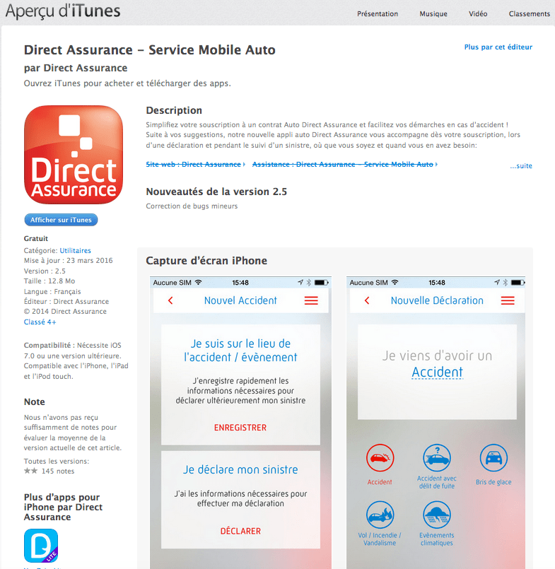 Application mobile de Direct Assurance