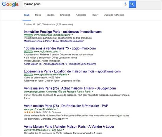 campagne search Adwords