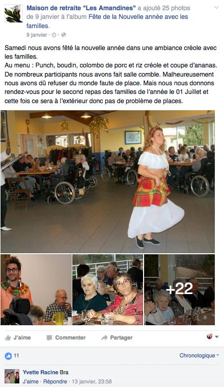 Page Facebook d'une maison de retraite