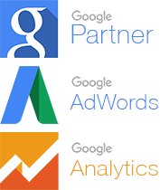 Nos badges certifications Google Partner, Analytics et AdWords