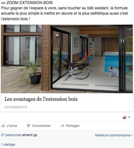 Exemple de page Facebook d'un constructeur de maisons