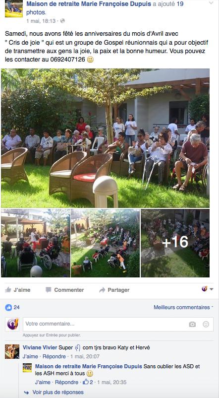 Activités d'une maison de retraite publiées sur Facebook