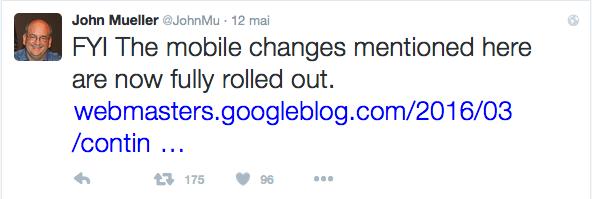 Annonce de John Mueller de Google sur le renforcement du mobile friendly