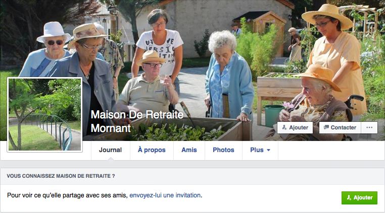 Profil Facebook d'une maison de retraite