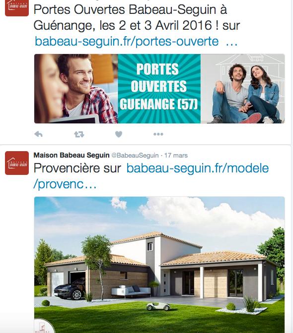 Exemple d'un compte Twiter d'un constructeur de maisons
