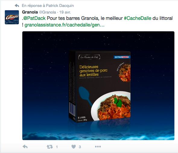 Opération #CacheDalle sur Twitter par Granola