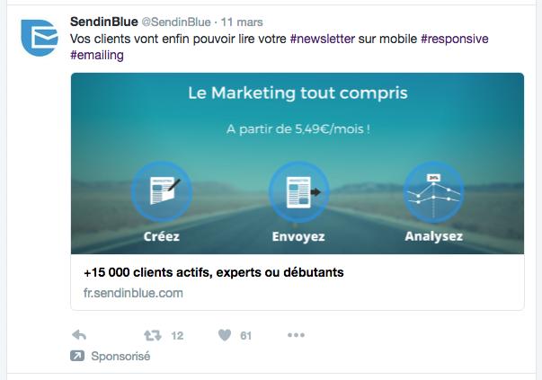 Twitter Ads tweet sponsorisé