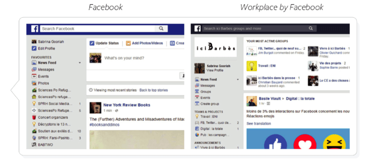 Comparaison des interfaces Workplace et Facebook