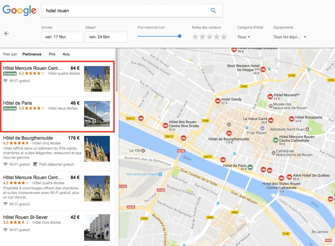 Annonces sponsorisées et Google Hotels dans Maps