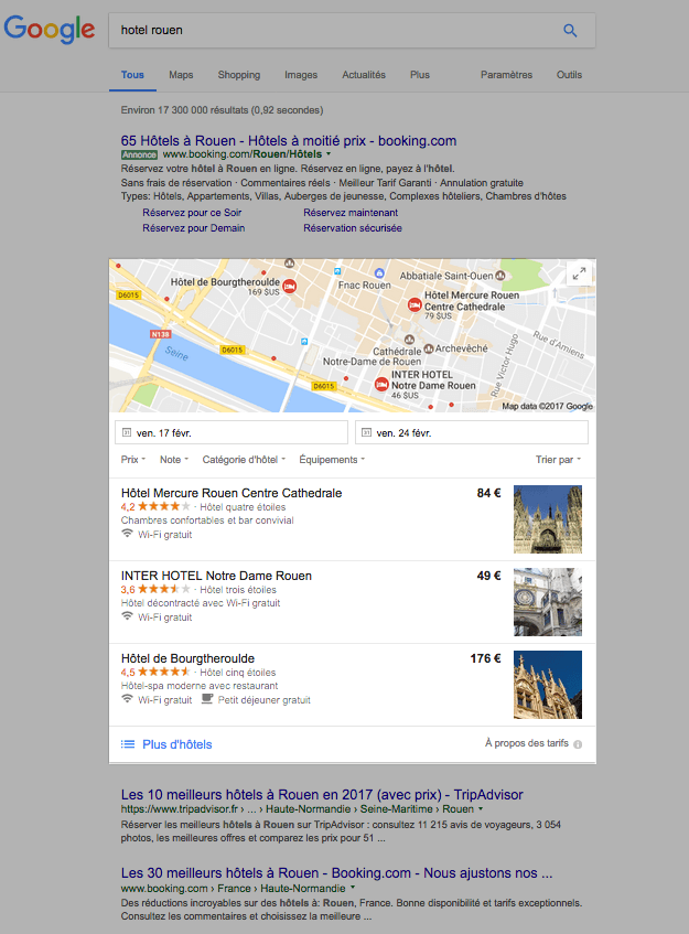 Google Hotel Ads dans le Search