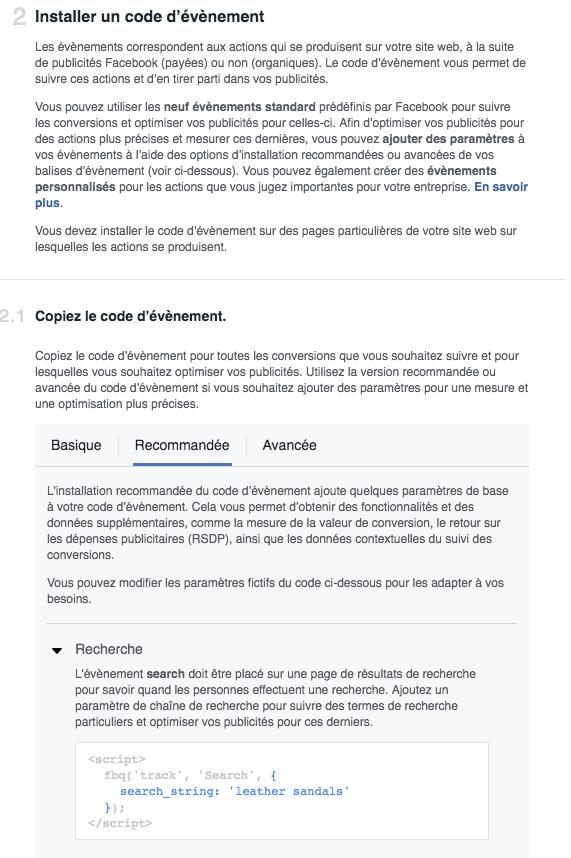Installation classique du Pixel Facebook