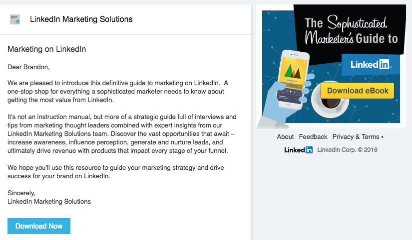 Images call to action InMail sponsorisés LinkedIn Ads