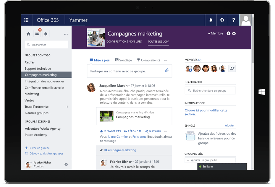 Interface-yammer-office-365-outils-de-collaboration