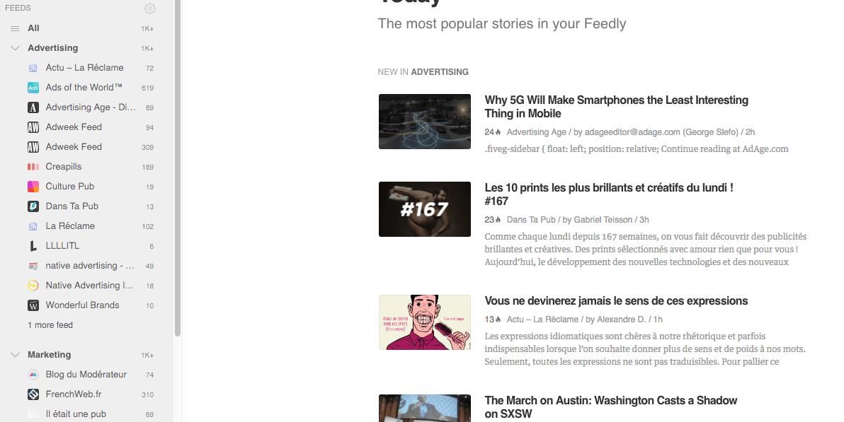 Curation de contenus avec Feedly agrégateur de flux RSS