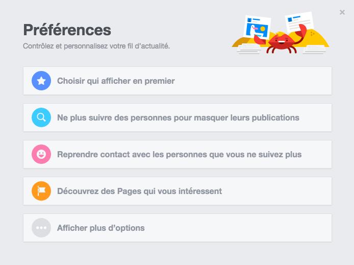Les préférences du fil d'actualité Facebook