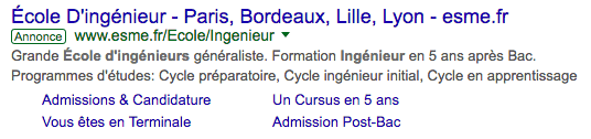 Orientation exemple d'annonce textuelle AdWords