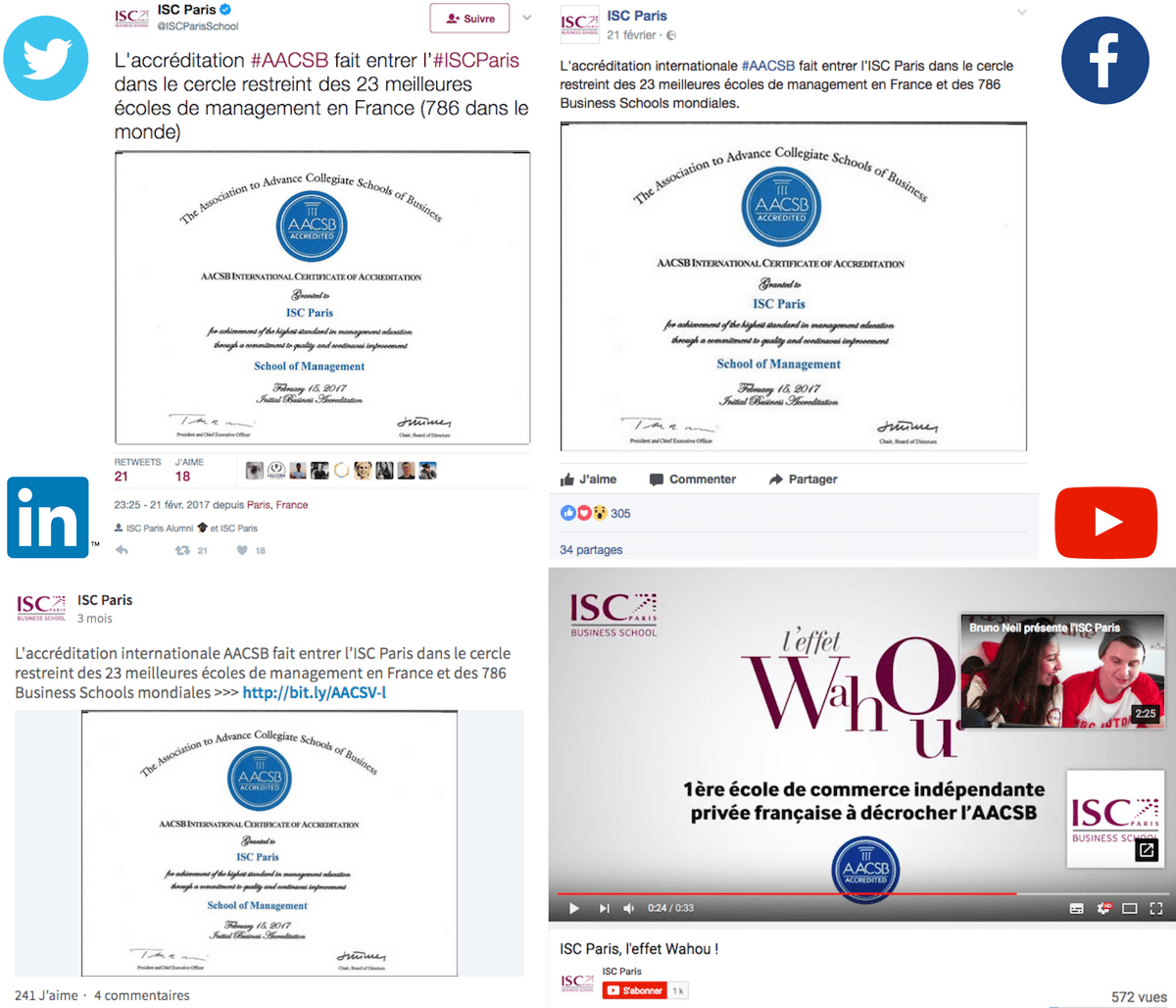 accréditations et classements ISC Paris réseaux sociaux