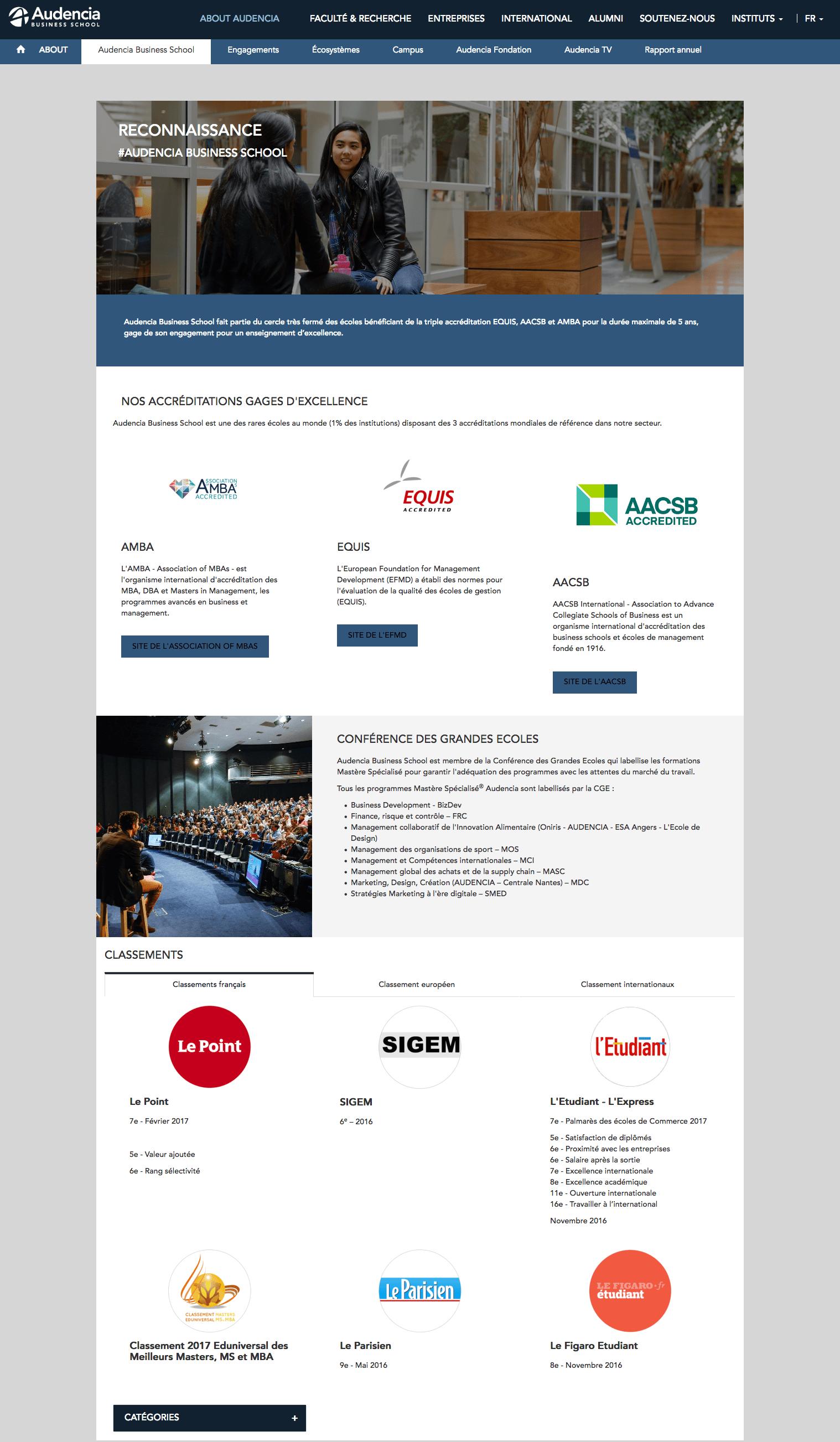 accréditations et classement d'Audencia BS