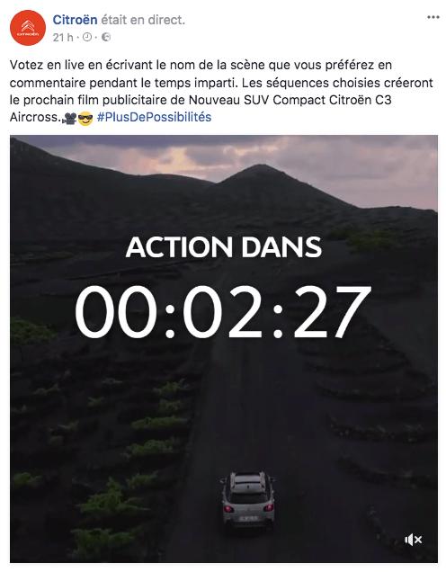 Quand un Facebook Live permet de créer la prochaine publicité TV de Citroën