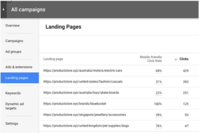 Nouveauté AdWords : section Landing Pages