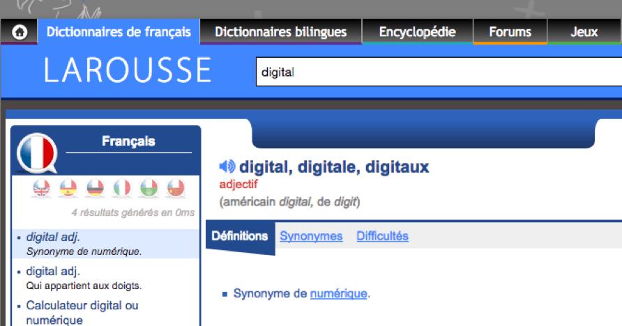 Digital : définition du Larousse