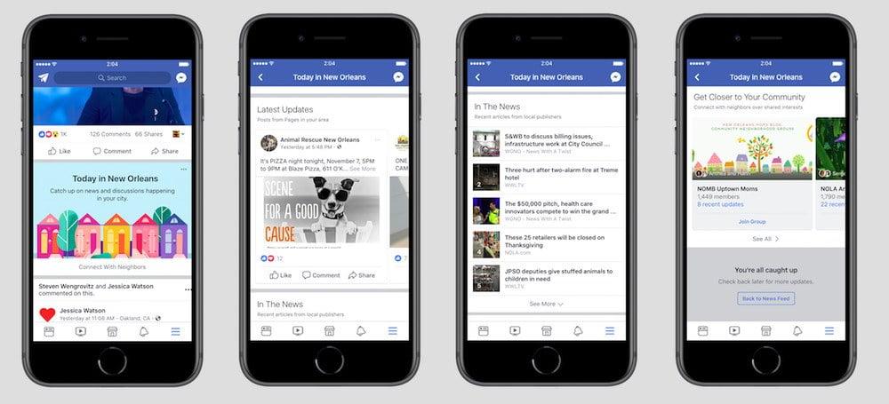 Section Today In pour répertorier les contenus locaux sur Facebook