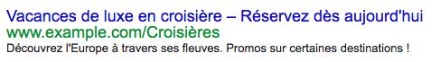 Exemple d'annonce textuelle sur Google AdWords Express