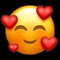 Emoji 2018 face souriante avec trois cœurs