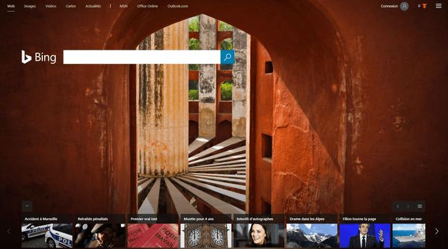 L'interface de Bing, moteur de recherche alternatif