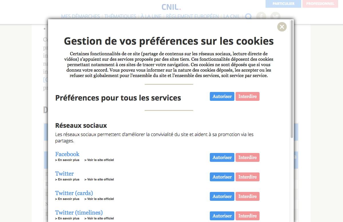 Exemple du bandeau de gestion des cookies de la CNIL en conformité avec la RGPD