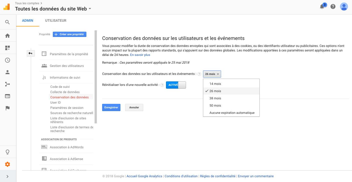Modification du temps de conservation des données sur Google Analytics lié à la RGPD