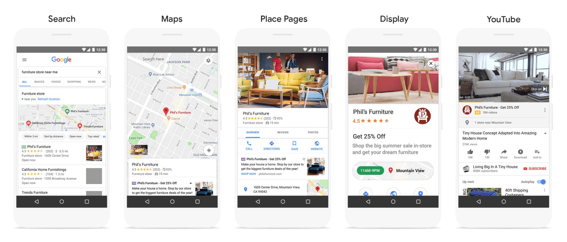 Les campagnes locales présentes sur tout le réseau Google