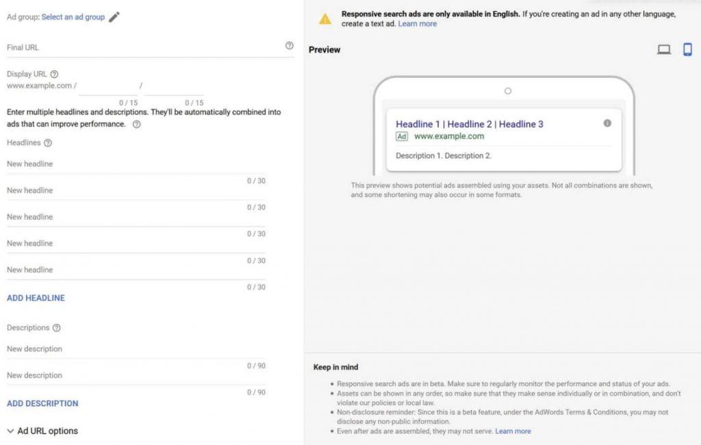 Un exemple de création de responsive search ads