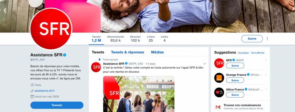 Capture d'écran du compte Twitter de SFR