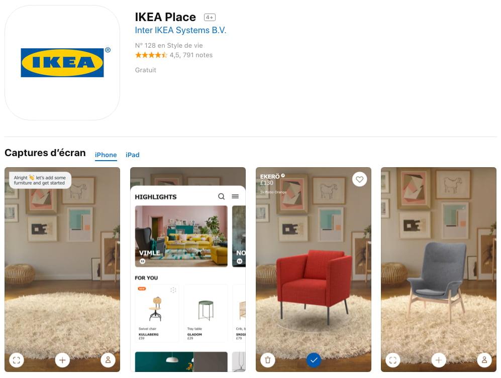 Apple IKEA Place : application de réalité augmentée disponible dans l'App Store
