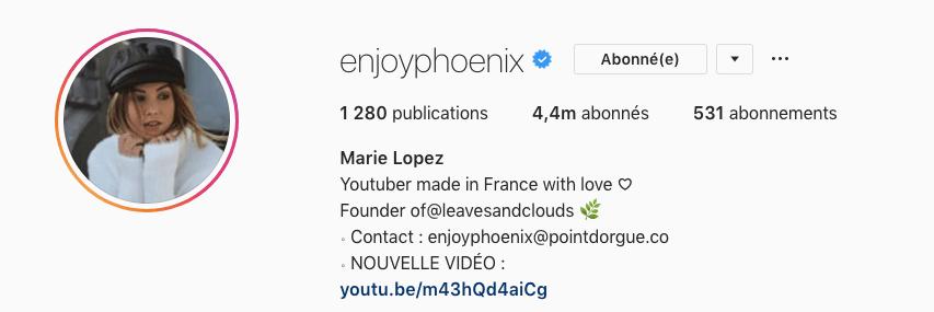 EnjoyPhoenix influenceuse life-style la plus suivie en France