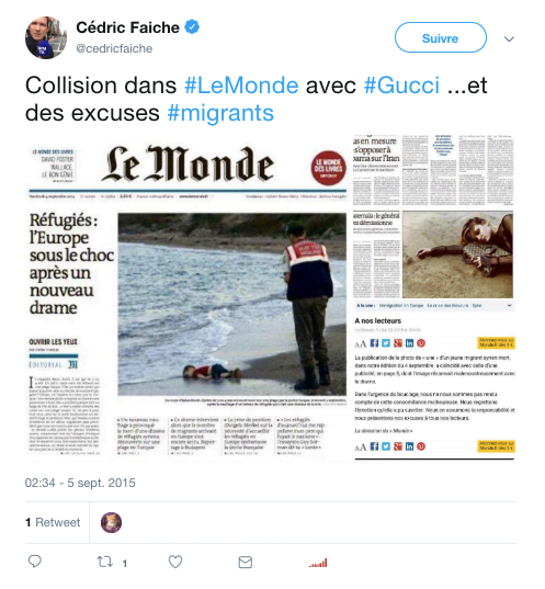 Tweet au sujet du bad buzz de Gucci en 2015