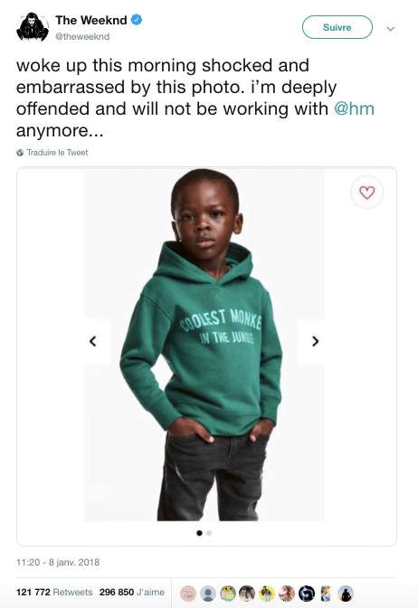 Tweet bad buzz H&M en 2018