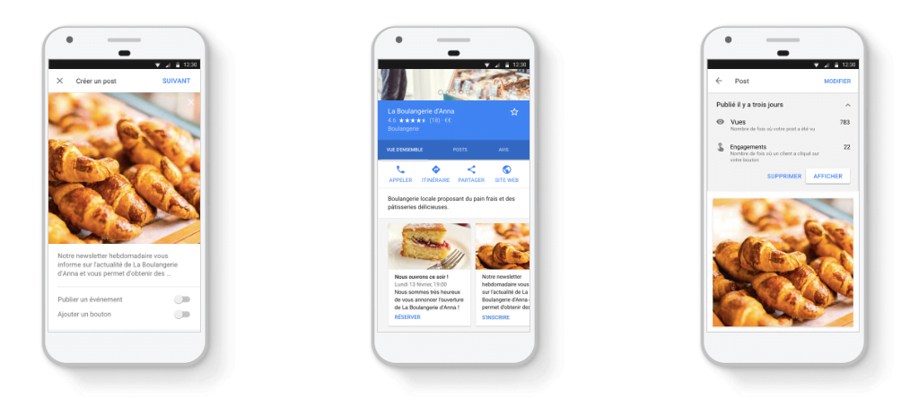 Interface du fil d'actualité de Google My Business