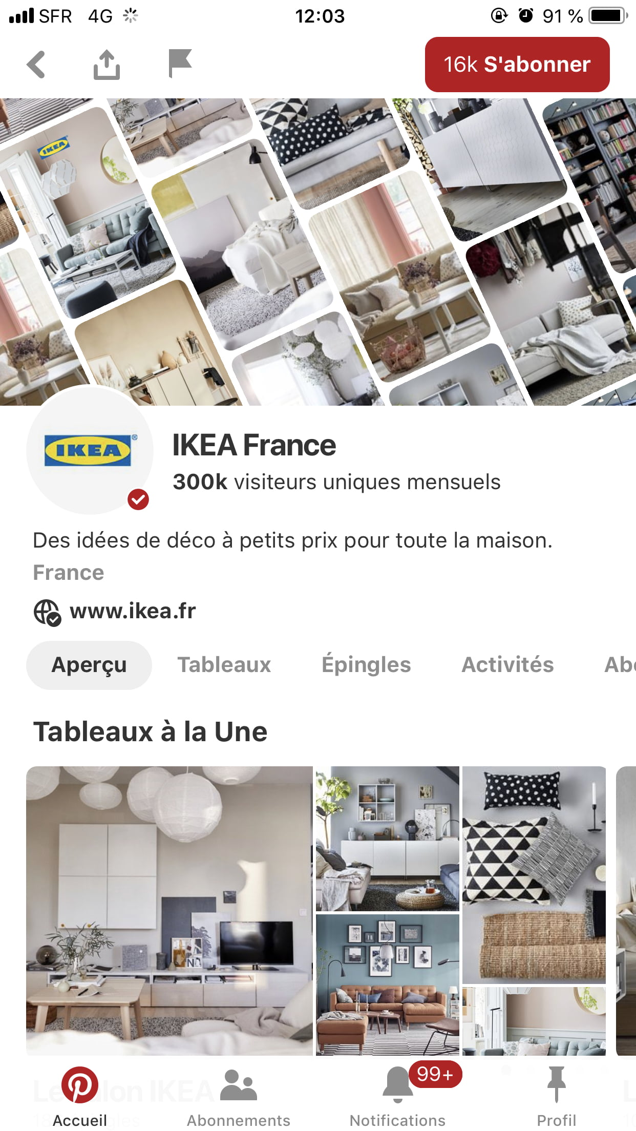 Interface du compte officiel Pinterest de Ikea