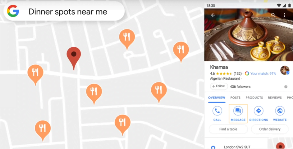 "Visuel du bouton ""Messages"" de Google My Business sur Google Maps"