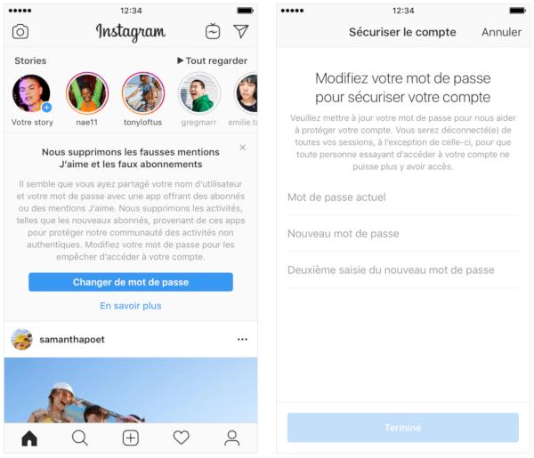 Photo du message d'Instagram au sujet de la nouvelle politique concernant les faux likes et les faux abonnés