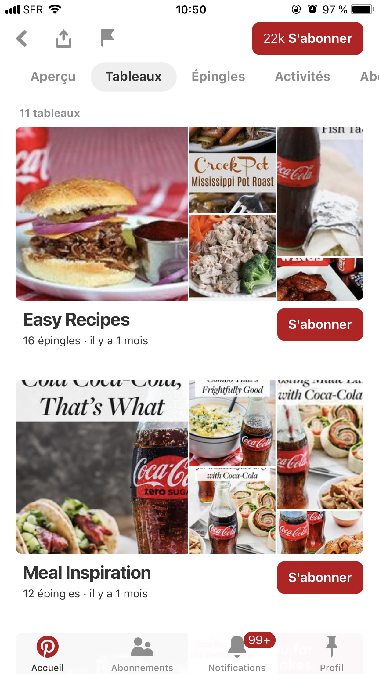 Interface du compte officiel Pinterest de Coca-Cola
