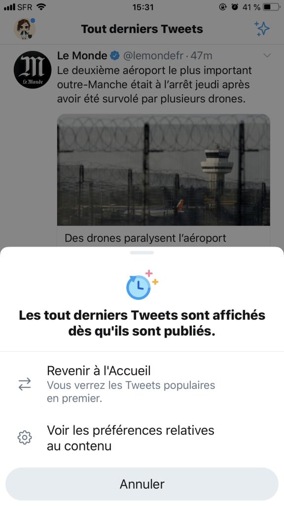 Capture écran du bouton permettant un affichage chronologique dans le fil d'actualité Twitter