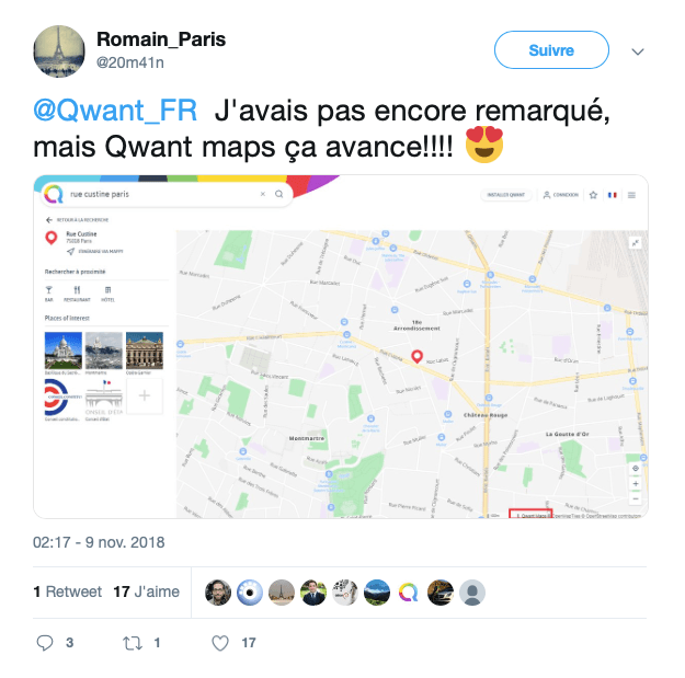 Capture d'écran Tweet sur l'arrivé de la version alpha de Qwant Maps