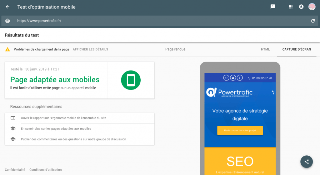 "Étape 3 : Comprendre l'analyse de Google sur le ""test mobile friendly"""