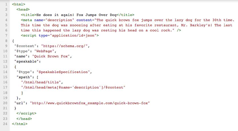 HTML5 sémantique : exemple de la balise speakable