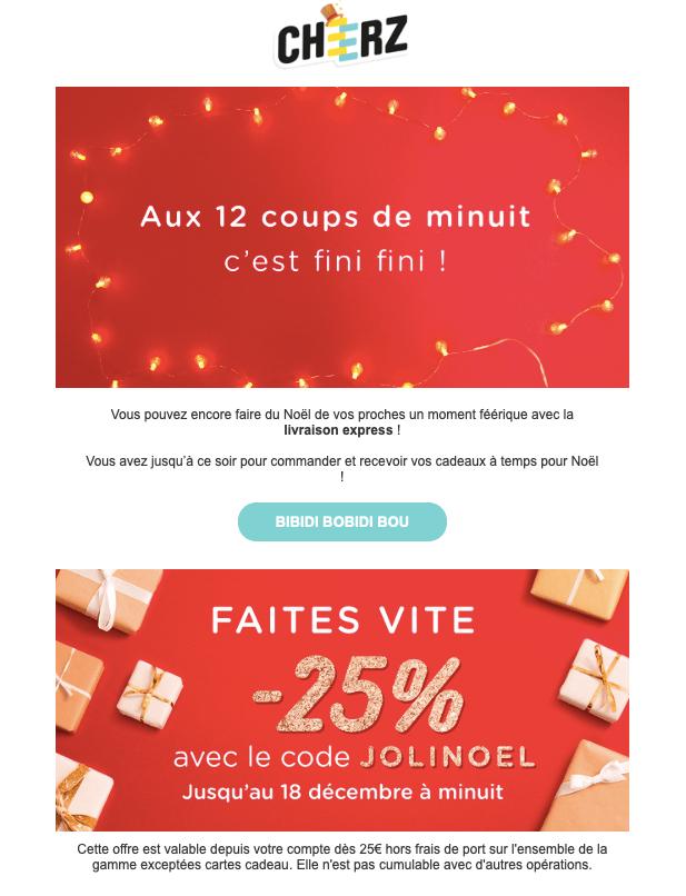 Visuel de la newsletter de Noël de Cheerz