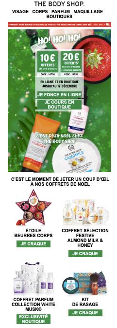 Visuel de la newsletter de Noël de The Body Shop