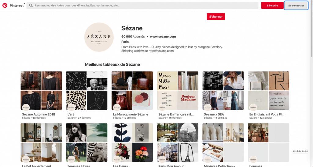 Exemple de compte bien « entretenu » : le compte Pinterest de Sézane